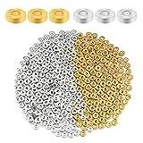 KINBOM 1000 Piezas 6 mm Cuentas de plata Espaciadoras Redondas Planas Abalorios Dorados Chafas Bisuteria CCB Disco Plástico Rondelle para Pulsera Collar Joyería Fabricación de Manualidades