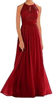 Annadress Women's Halter Lace A-Line Chiffon Floor-Length Bridesmaid Dress