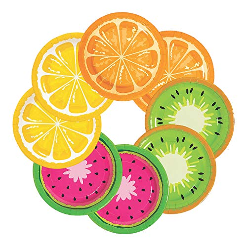 Fun Express - Tutti Frutti Fruit Dessert Plate for Party - Party Supplies - Print Tableware - Print Plates & Bowls - Party - 8 Pieces