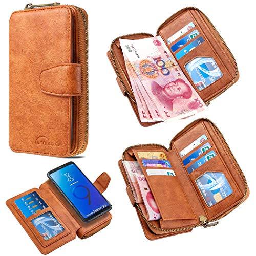 Funda tipo cartera para Samsung Galaxy Note 10 Plus, 2 en 1, funda trasera magnética desmontable, 11 ranuras para tarjetas y 1 monedero con cremallera), color marrón