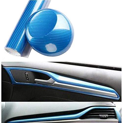 5D Carbon Auto Folie, 5D Hochglanz Antifouling Und Anti-UV Auto Innen- Und Außenaufkleber Autoschutzaufkleber (Blau,50cmX152cm)