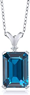8.52 Ct Emerald Cut London Blue Topaz and White Diamond 925 Sterling Silver Pendant Necklace with 18 Inch Silver Chain