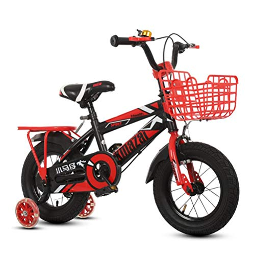 Tbagem-Yjr Children's Mountain Bike, Pedal Balance Car Travel Bicycle Give Children The Best Gift (Color : Black red, Size : 16inch)