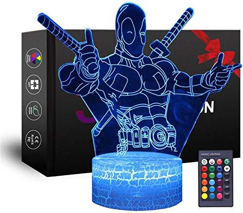 3D Nachtlicht Lampe Deadpool Geschenke, mit 16 Farbwechsel und Fernbedienung, Geschenke für Kinder ab 3 4 5 6+ Jahre