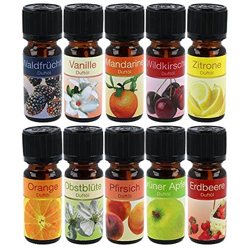 com-four® 10x Verschiedene duftende Öle - Raumduft Obst - Duftöl für Aroma-Diffusoren, Lufterfrischer, Wasser-Verdampfer, Luft-Befeuchter (10 Stück - Obst)