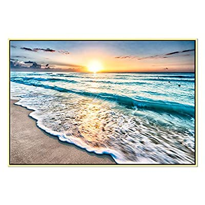 Wieco Art Sea Waves HD Canvas Print Modern Canvas Wall Art for Wall Decor and Home Office Decoration Sea View Beach Theme Home Decor