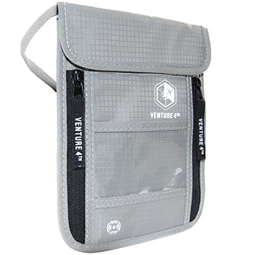 Passport Holder Neck Pouch with RFID Blocking Travel Neck Wallet (Silver)