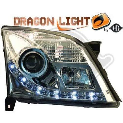 in. pro. 1825486 haute définition Tête lumières avec authentique Feux de Jour lumière du jour clair, Chrome