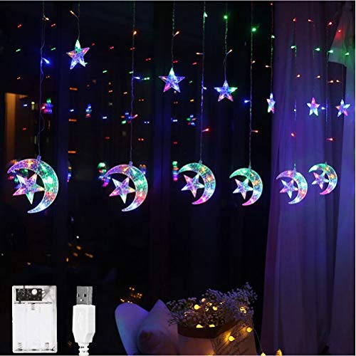 Stecto 2.5x2m LED Curtain Star Lights 8 Modes USB Charging Waterproof Window Moon Star String Lights Fairy Lights for Bedroom Christmas Halloween Wedding Party