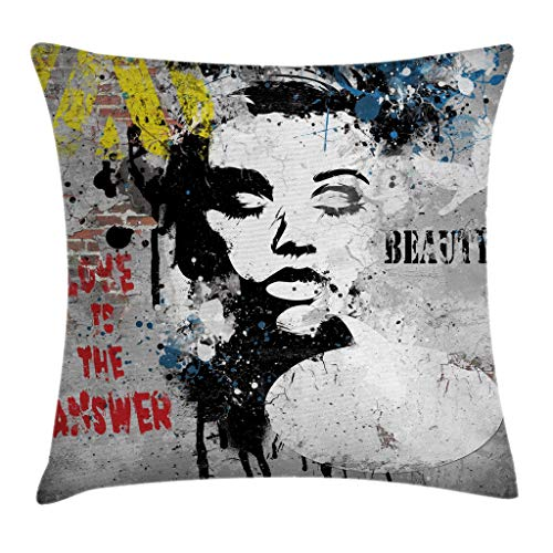 Graffiti Decor Throw Pillow Cushion Cover by Ambesonne, Modern Grunge Wall with a Girl and Quotes Casual Youth Urban Fashion Print , Decorative Square Accent Pillow Case, 20 X 20 Inches, Grey Yellow