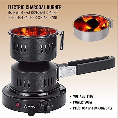 AHADU, AHCS-101, The New Electric Charcoal Burner/Starter with Smart Heat Control for Low Electricity Usage; Durable & Heat Resistant Heating Element - Comes with a Detachable Rubber Tong