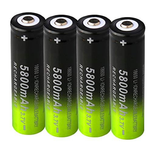 Pilas recargables 18650 3,7 V 5800mAh de gran capacidad 18650 3.7 V ICR Batería de iones de litio para linterna LED linterna frontal (4 unidades)