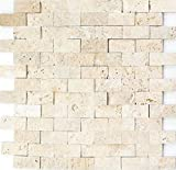 Mosaico baldosas Travertin piedra natural beige Brick Splitface Chiaro Travertin 3D MOS43-...