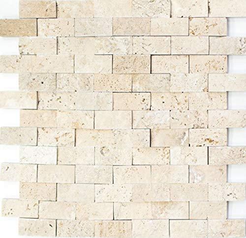 Mosaico baldosas Travertin piedra natural beige Brick Splitface Chiaro Travertin 3D MOS43-46248