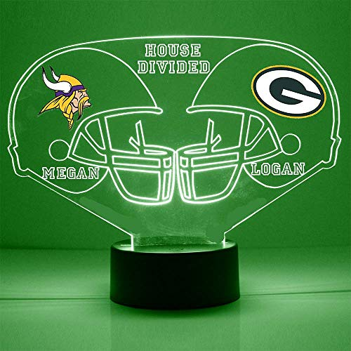 Vikings (Minnesota) vs Packers (Green Bay) Football Helmet Sports Fan Lamp/Night Light -'A House Divided' - LED - Personalize for Free - Featuring Licensed Decals
