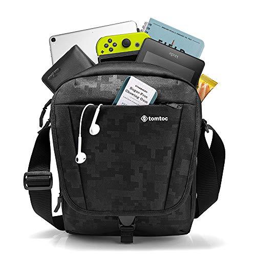 tomtoc Bolso Bandolera para 10,5' iPad Air 2019 | 11' iPad Pro 2018, Almacenamiento Grande de Viaje, Correa de Hombro Bolsillo de Accesorio, Bloqueo RFID para Tarjeta de Crédito, Impermeable, Negro