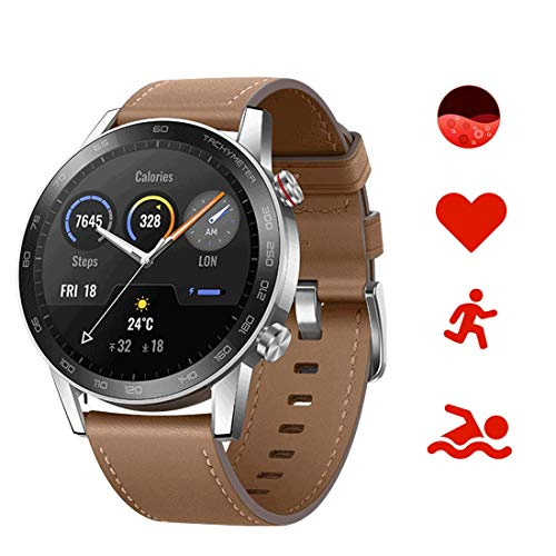 HONOR Magicwatch2 46mm SmartWatch, Fitness-Aktivitätstracker mit Herzfrequenz- und Stressmonitor, SpO2-Monitor, Übungsmodi, GPS 5 ATM wasserdicht (Braun)