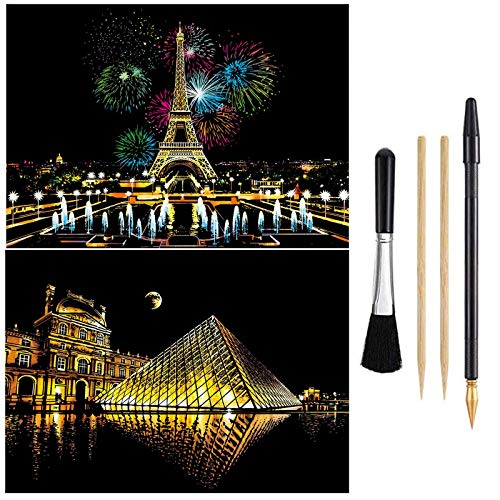 Wbeng Scratch Paper Rainbow Painting Sketch Pads DIY Art Craft Night View Scratchboard for Adults and Kids - 2Packs, 16 X 11.2 Inches (Paris / Louvre)