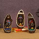 TIED RIBBONS African Lady Figurines Statues for Living Room Side Table Decor - African Figure Sculpture Tribal Ladies Figurine Statue Decor Collectible Art Piece-Set of 3