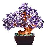 JSDDE - Árbol de la vida con piedra Feng Shui ornamentos para la suerte y la riqueza, árbol de cristal, decoración para jardín, casa, hecha a mano, amatista