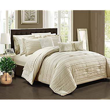 Chic Home CS2429-AN Lea 10 Piece Reversible Comforter Bed In A Bag Ruffled Pinch Pleat Motif Pattern Print Complete Bedding Set - Sheets Decorative Pillows Shams Included, Queen, Beige