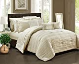Chic Home Lea 10 Piece Reversible Comforter Bag Ruffled Pinch Pleat Motif Pattern Print Complete Bedding Set-Sheets Decorative Pillows Shams Included, Queen, Beige