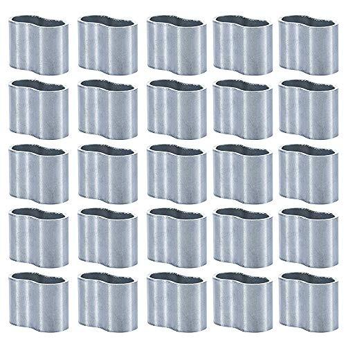 KAILEE 25 Stück Pressklemme 8 mm Würgeklemmen Aluminium-Crimpschlaufe Seilklemme Klemmen Expanderseil für Drahtseil Armaturen Kabel Crimps Planenseil Stahlseil (Silber)
