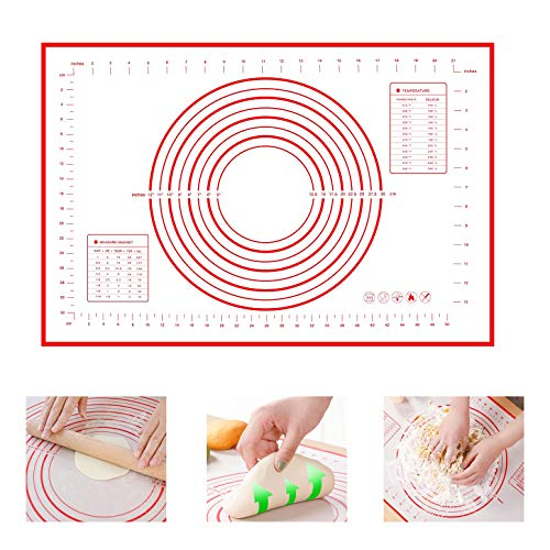 Silicone Pastry Mat with Measurements, Non-Stick Dough mat Pastry Mat YQMYXG Extra Large 16''x24'' Baking Mat Non-Slip BPA Free Fondant Mat, Counter Mat, Oven Liner Pie Crust Mat