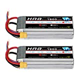 HRB 2PCS 1800mAh 6S 22.2V 50C LiPo Battery with XT60 Plug for SAB380 Align 470 ALZRC Devil 380 480 RC Helicopter Airplane Cars Truck Buggy Truggy Multicopter Drones