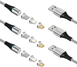 Smart&Cool 7 pins Round 3 in 1 Max 3.0A Fast Charging & Data Sync Magnetic Cable Compatible with USB-C Phones, i-Product and Micro-USB Interface Phones & Tablets (Silver-3Pack, 5 Feet)