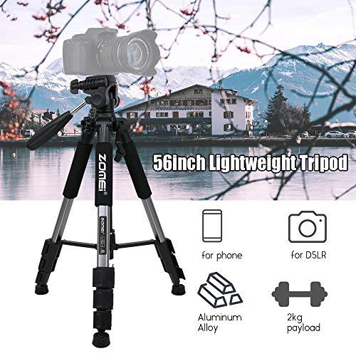 Trípode de Viaje de cámara de aleación de Aluminio portátil Ligero de 142 cm / 56
