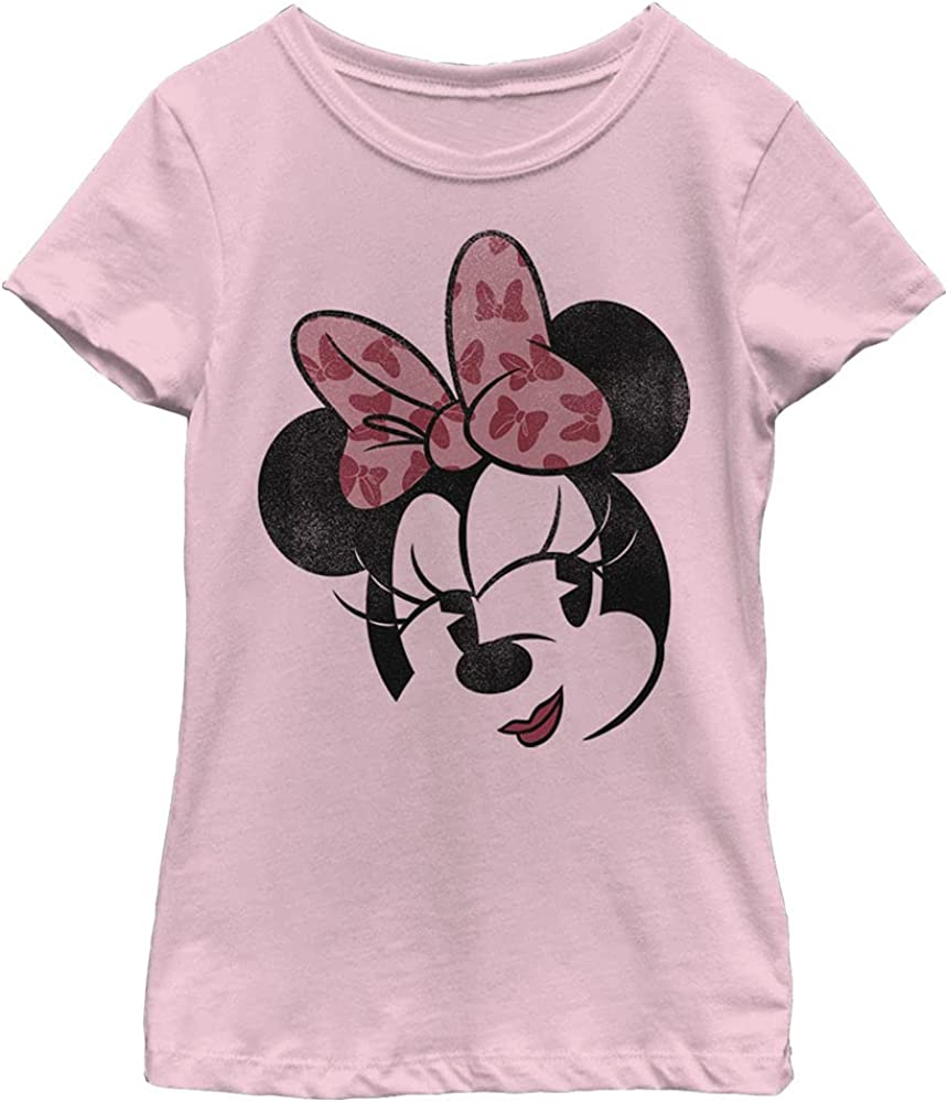 Disney Characters Minnie Face Girl's Solid Crew Tee