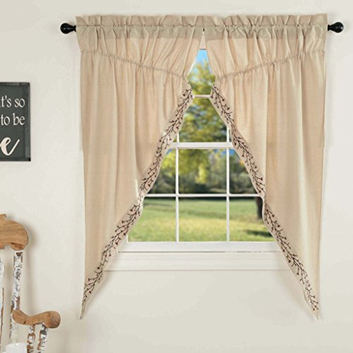 Twig & Berry Vine Prairie Gathered Swag Curtains, 63' Long, Beige w/ Embroidered Berries, Farmhouse Country Primitive Window Treatment