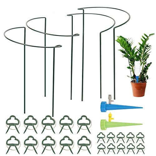 Herefun 26pcs/Set Jardinería Herramienta, 20 Clip de Jardin(10 pequeñas+10 Grandes), 4 Soporte para Plantas Semicircular Metal + 2 Picos Estacas de riego para Plantas en Maceta, Flores y perennes