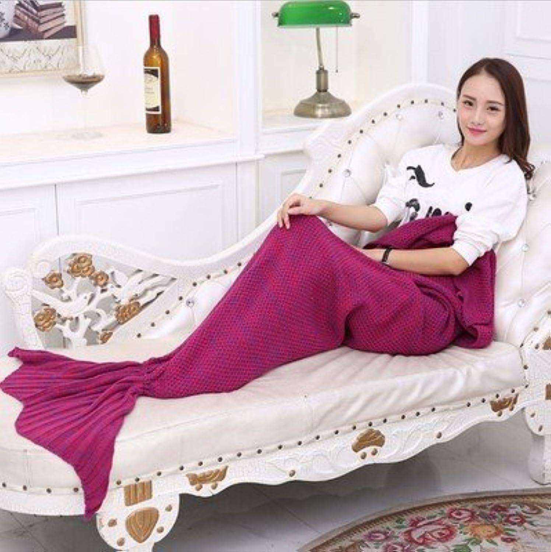 S-Werthy Mermaid blanket Thickening Mermaid Tail blanket Sofa blanket, pink red, 195  95CM 750g (76.8  37.4 inch)