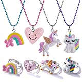 Todder Girls Jewelry Set,Girls Unicorn Necklace Ring Set BFF Heart Necklace Ring Set Party Favors Friendship Pretend Dress up Play Jewelry