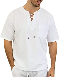 PURE PLANT HOME Men's White Shirt 100% Cotton Casual Hippie Shirt V-Neck Drawstring Short Sleeve Beach Yoga Top (White, XX...