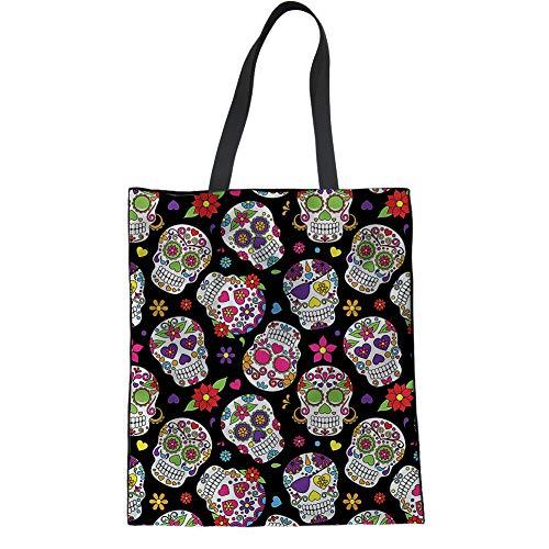 UOIMAG Day of The Dead Gift Canvas Tote Bag Candy Skull Flower Shopping Shoulder Bag for Women Teens Girls