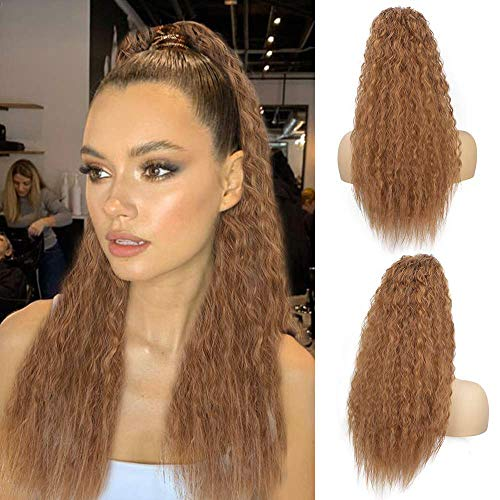 AISI BEAUTY Long Curly Drawstring Ponytails Extension for Black Women 22 inch Kinky Straight Ponytail Hair Piece Clip on Wavy Ponytail(30#)
