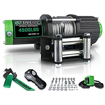 STEGODON New 4500 lb Load Capacity Electric Winch,12V Steel Cable Winch with Wireless Handheld Remote and Wired Handle IP67 Waterproof Electric Winch with 4-Way Roller Fairlead