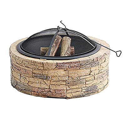 Fire Pit Outdoor fire Pit, 35-inch Round Bonfire Wood Burning Terrace fire Pit, Used for Outdoor Cooking and Barbecue from Lijack