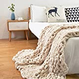 ERLYEEN Chunky Knit Blanket Throw Chenille Cable Handmade Chunky Knit Throw Blanket Warm Soft Cozy for Bed Chair Sofa Best Gift,Beige 71'x80'(Queen Size)