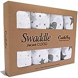 Cuddlebug 4 Stück 120 cm x 120 cm lange Baby Decke für Babys - 5 Farbkollektionen - Musselin Decke - Babydecke Mädchen oder Jungen - Beste Babydecke Baumwolle (Sternennacht)