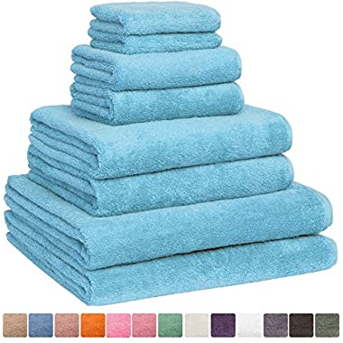 Fast Drying Extra Large Bath Towel Set, Decorative & Luxury Premium Turkish Cotton Towels for Clearance - Spa & Hotel Quality - Pack of 8 including 2 Oversized Bath Sheets (30x60) - Aqua