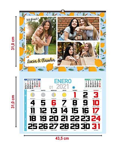 One Personal - Calendario Personalizado de Pared 2021 | Para personalizar con Fotos y Texto | Calendario Mensual con Festivos -43,5 cm