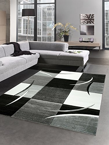 CARPETIA Designer Tapis Karo Gris Blanc Noir Größe 160x230 cm