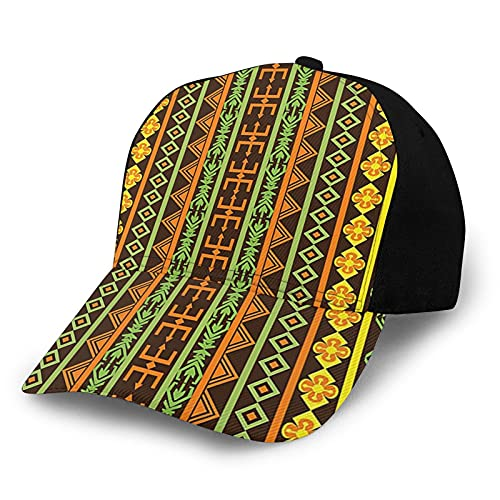 Ethnic African Pattern with Geometric Figures Folk Cultural Abstract Art Print Yellow Brown Lime Green Unisex Fashion Adjustable Baseball Cap Sun Cap