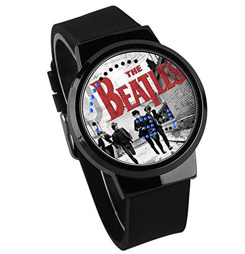 Relojes De Pulsera,Fashion Creative Touch Screen Led Watch The Beatles Rock Band Nightlight Waterproof Watch Black Black Strap