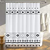 Boho Shower Curtain Black and White Shower Curtain, Waterproof Fabric Shower Curtain with Tassels for Bathroom, Bath Curtain Set with Hooks, 72x72 Inch