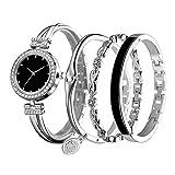 NOLOGO 2pcs se adaptan a una Familia de Cuatro Relojes de Cuarzo Reloj de Las Mujeres de la Moda Forma Femenina Sra. Deportes al Aire Libre (Color : Silver 2pcs)